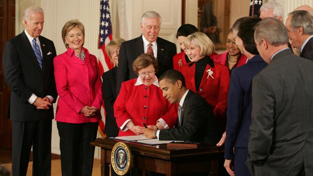 President Barack Obama signing the Lilly Ledbetter Fair Pay Act of 2009